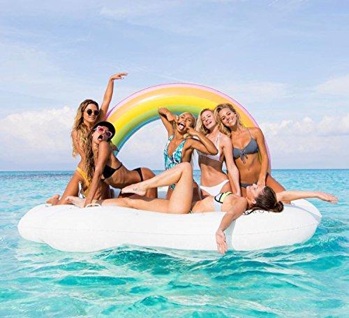 245cm とにかく大きい浮き輪 レインボー クラウド デイベッド フロート 浮き輪 大人 可愛い 虹 雲 フロート うきわ 大人用 うきわ エアー ビーチ プール リゾート 水遊び ユニーク 特大 大きい浮き輪