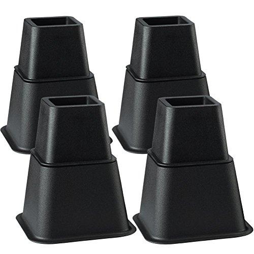 Uping テーブル・ ベッドの高さ調節が簡単にできる ベッド の高さをあげる足 8個セット 高さを上げる 高さ調節脚 こたつ 継足し 継ぎ足 テーブル脚台 高さ調整 暖房器具 角型 (耐荷重600kg) ブラック