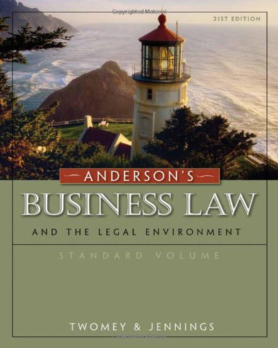 Download Anderson's Business Law And The Legal Environment 0324786689