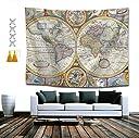 ビンテージ地理世界地図タペストリーマンダラヒッピーボヘミアンタペストリー壁掛けビンテージ地理世界地図タペストリー壁掛けインドの寮の装飾ギフト60 x 51インチ