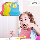 Li.Va. 防水 シリコン ベビーエプロン お得な4色セット コンパクト収納 食事エプロン ビブ 男の子 女の子 兼用