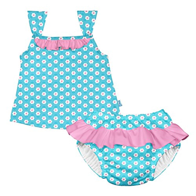 アイプレイ iplay 水着 タンキニ ラッシュガードと水遊びパンツの上下セット UVカット オムツ機能付 L:18ヶ月 Aqua Daisy