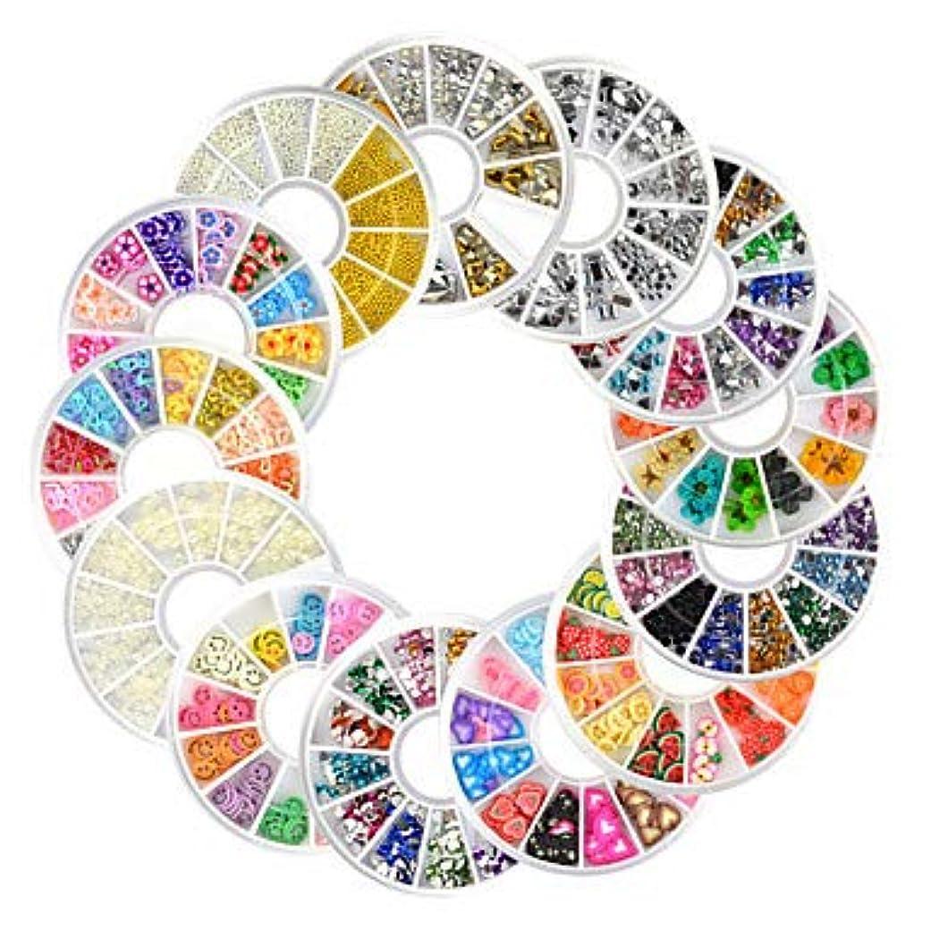 13ピース新しいネイルアートラインストーングリッターアクリルのヒントマニキュアホイールfimoパールスタッド合金ネイルデコレーション