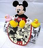 ご出産お祝い 人気のロールケーキ風のかわいいおむつケーキ ディズニーF (男の子用ミッキー)