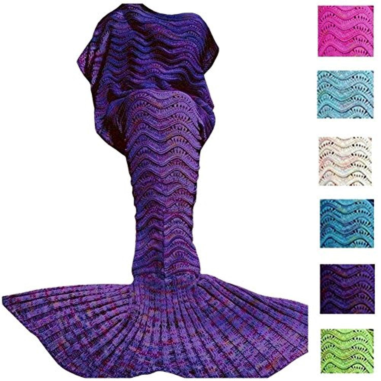 [DDMY]DDMY Mermaid Tail Blanket For Kids Teens Adult Handmade Wave Mermaid Blankets Crochet Knitting Blanket Seasons [並行輸入品]