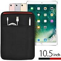 iPad Pro(10.5インチ)用 JustFit™ スリーブケース(ブラック&レッド) Apple Pencil&Lightningケーブルが収納出来る2つのポケット付・専用設計だからジャストフィット!