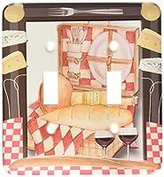 3dRose LLC lsp_128873_2 レッドチェックフレーム チーズ パン用具 パン用ピクニックバスケット ワイングラス ダブルトグルスイッチ