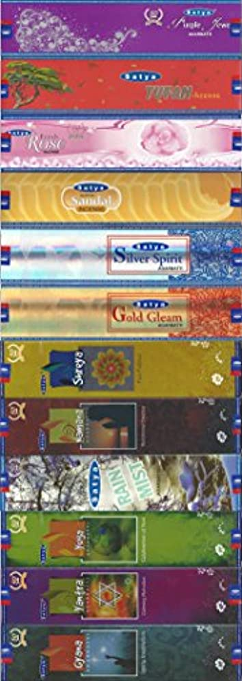 ホーン項目きらめく12のセットSatyaお香20グラム – パープルJewel – Tufan – Freshローズ – Super Sandal – シルバーSpirit – ゴールドGleam – Shreya – Namana – Rain Mist – ヨガ – ヤントラ – Gyana – (Incenseホルダー付属