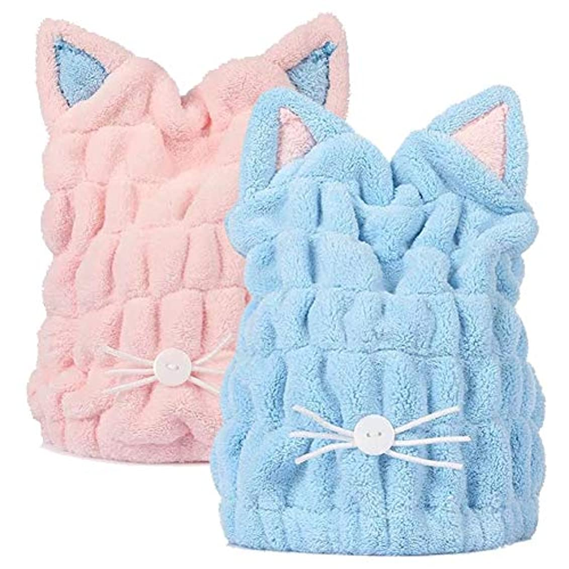 評判不名誉マイルJIEMEIRUI ヘアドライタオル 大人も子供も使える シャワーキャップ タオルキャップ 風邪を防ぐ 吸水 速乾 髪 ふわもこ ドライキャップ ヘアターバン 強い吸水性 お風呂上がり バス用品 (猫ちゃんー2枚セット)