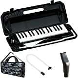 KC 鍵盤ハーモニカ (メロディーピアノ) ブラック P3001-32K/BK + 専用バッグ[Mono Camouflage] + 予備ホース + 予備吹き口 セット