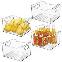 mDesign プラスチックキッチンパントリーキャビネット 食品保存容器 Pack of 4 クリア 03952MDK