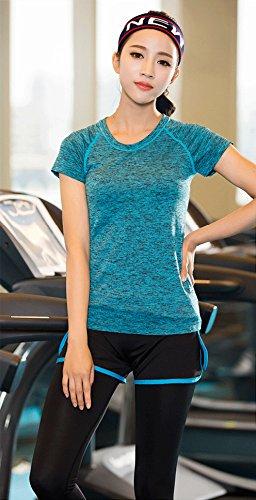 FRULE レディース 速乾・ストレッチ トレーニングウェア 半袖Tシャツ (M, ブルー)