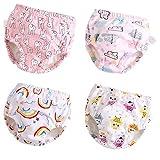 U0U 4 Pack Toddler Potty Training Pants Layered Cotton Training Underwear for Toddlers Girls M Pink