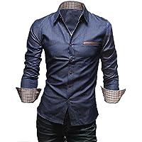 [50dB] メンズ カジュアル シャツ 長袖 3色展開(ブラック/ブルー / ネイビー)