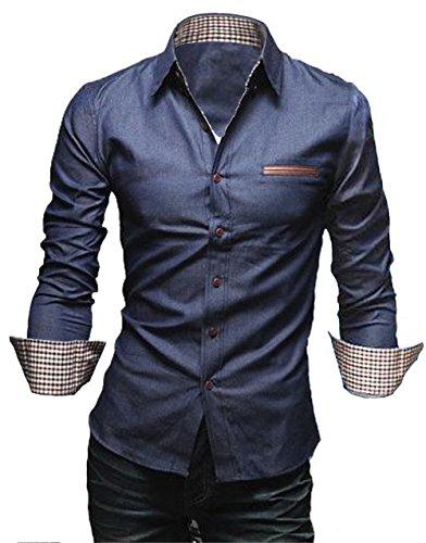 [50dB] シャツ ボタン メンズ 大きめ ギンガム フルオープン レギュラーカラー インディゴ vネック ビジネス クロス スリム ポケット 付き つき 七分袖 しちぶそで オーバー 7分袖 7分袖 メンス゛ (ネイビー M)