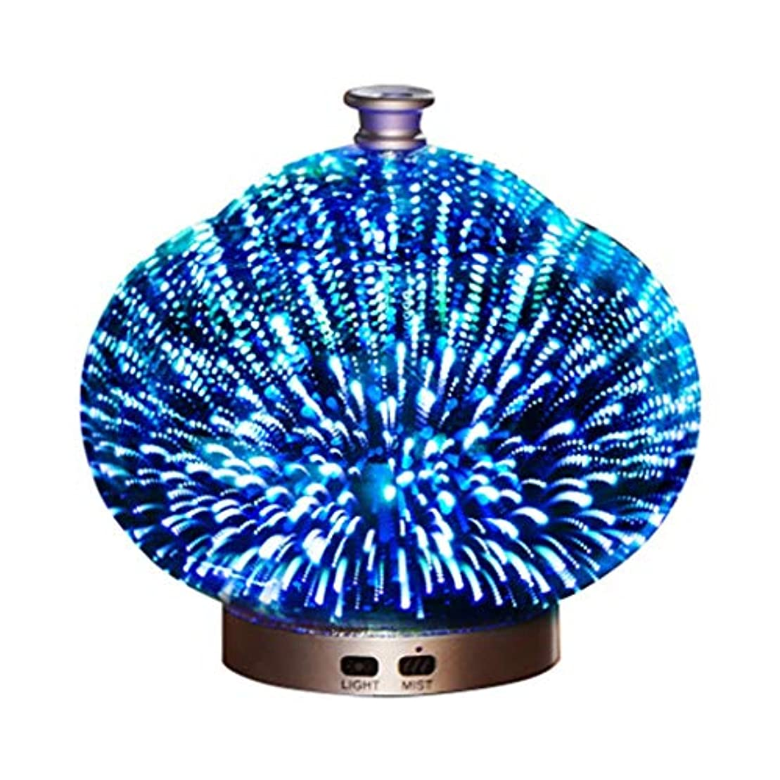 駅ダルセット受粉する3Dガラス100ミリリットルギャラクシープレミアム超音波加湿器で素晴らしいledライト付き、自宅用ヨガオフィススパ寝室ベビールーム (Color : Brass)