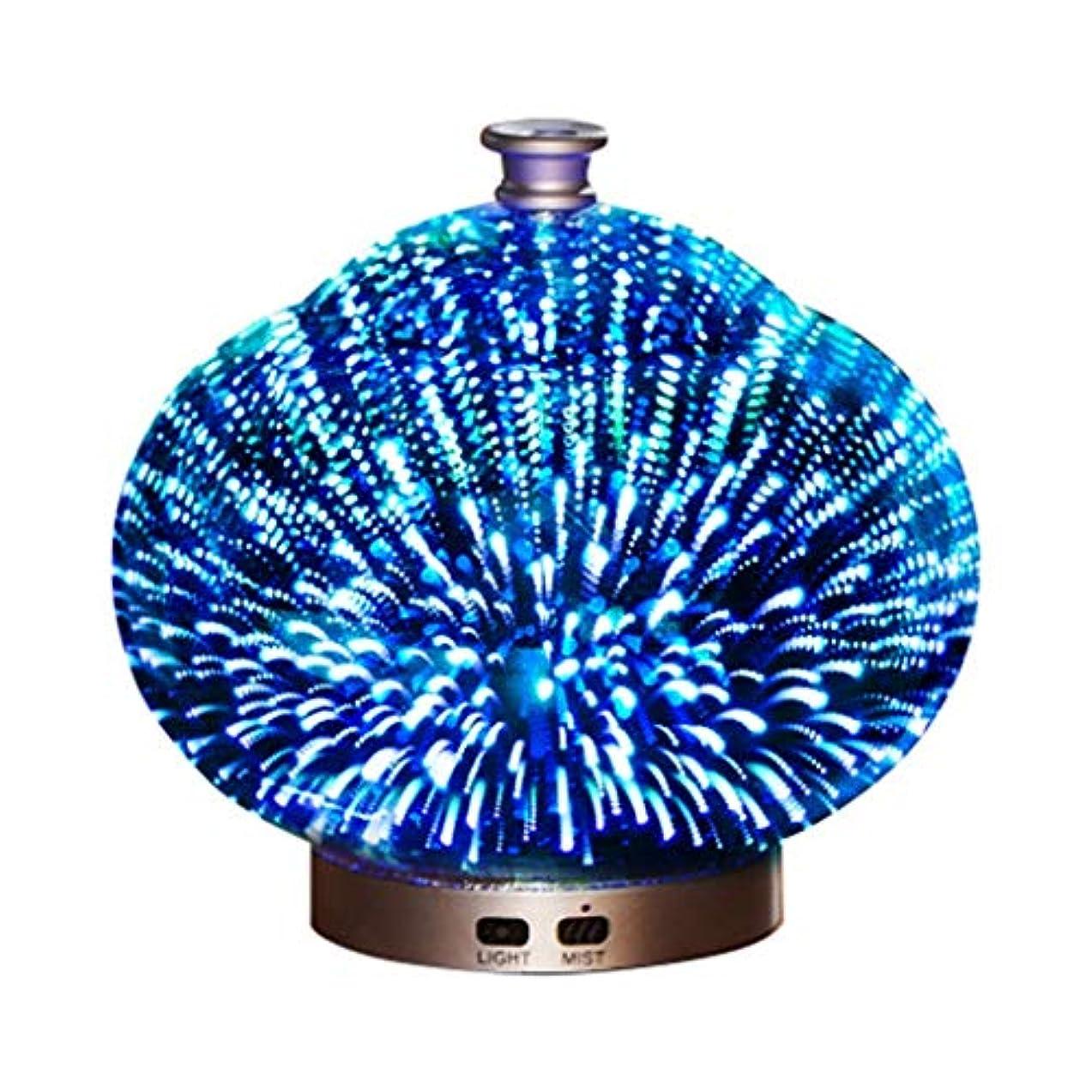 ヘルパー屋内失望3Dガラス100ミリリットルギャラクシープレミアム超音波加湿器で素晴らしいledライト付き、自宅用ヨガオフィススパ寝室ベビールーム (Color : Brass)