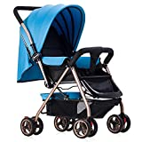 Homehalo ベビーカー 両対面 ベビーバギー 折りたたみ 軽量4輪機能 通気性良い 買い物かご付き 対象 新生児~36ヶ月 (ブルー)