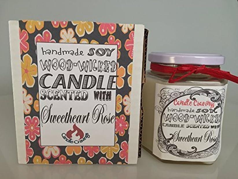 政策パックフェザーSweetheart Roses Scented Soy Wax Container Candle With Wood Wick 12 Oz US Handmade [並行輸入品]