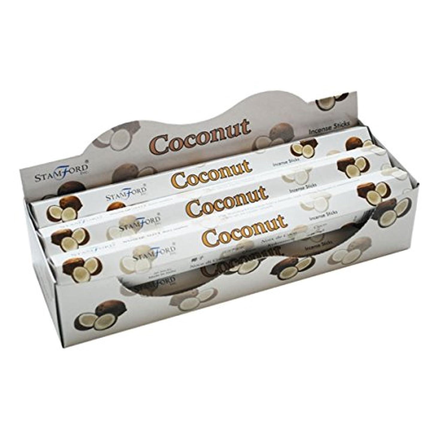 肺燃やす遅滞Stamford Coconut Incense, 20 Sticks x 6 Packs by Stamford