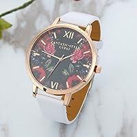 Female Fashion Gold Frame Rose Mirror Face Wrist Watch