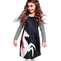 Kids Girls Dress Cotton Long Sleeve Striped Knee-Length Horse Pattern Princess Party Dress Spring Autumn Clothes