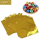 Aluminium Foil Candy Wrappers Chocolate Wrappers Sugar Tinfoil Wraps Paper for DIY Candies and Chocolate Packaging or Decoration by Party/ Wedding/Birthday/Chrismas Accessories,100pcs Square Sheets, 4 x 4 inches (Gold)