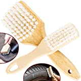 Ergonomic, Pro-Grade Tire Scrubbing Brushes 2 Pack. Easily Scrub Without Scratching Rims or Wheels, Even on Low Profile Sidewalls. Durable Bristles are Great for Floor Mats, Tires, or Home Cleaning!
