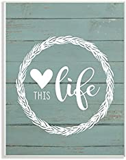 The Stupell Home Décor Collection rwp-103_wd_10x15 Love This Life Wreath Planked