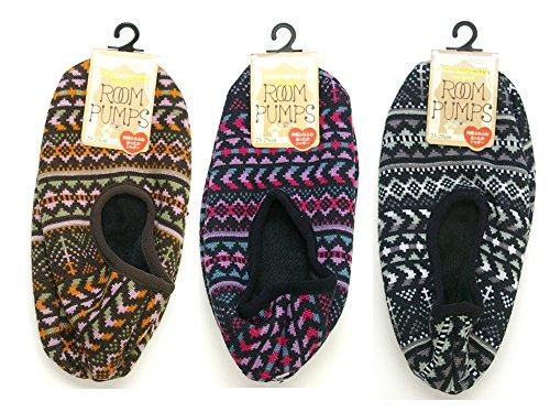 民俗柄 各1色 3足セット 冷え取り靴下 シャギー付きルームパンプス 23cm-25cm