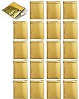 【Rurumi】ゴールド クッション封筒 セット メタリック エアキャップ プチプチ 小分け プレゼント 袋 封筒 金色 (金色 20枚 セット)