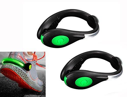 夜間ランニング ライト USB充電式 長持ち シューズクリップライト クリッ ランニング ウォーキング ジョギング ライト 安全ライト事故防止 LED 赤青緑 (グリーン)