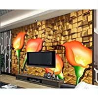 Lcymt 壁のための壁紙をカスタマイズします3 Dの立体的な壁紙チューリップ3D部屋の壁紙写真壁の壁画壁紙-280X200Cm