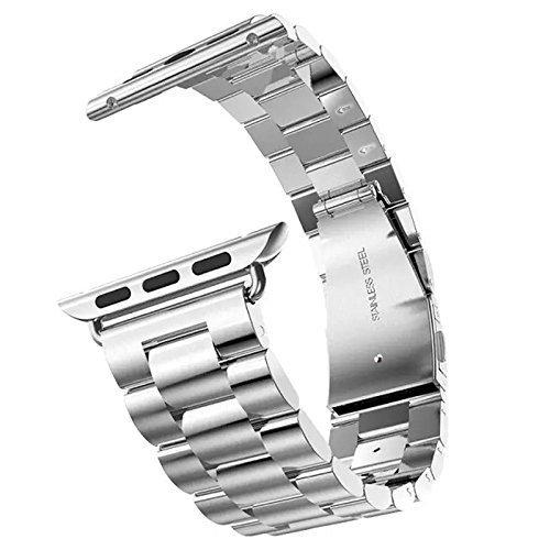 TOWOOZ Apple Watch 42MM バンド Apple Watch バンド 連結部件付き 調節道具付属 Apple Watch 42mm ステンレス バンド 高級品質 Apple Watch Series 3/2/1 用バンド (シルバー)
