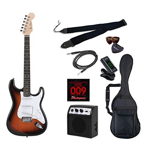 PhotoGenic エレキギター 初心者入門ライトセット ストラトキャスタータイプ ST-180/SB サンバースト ローズウッド指板