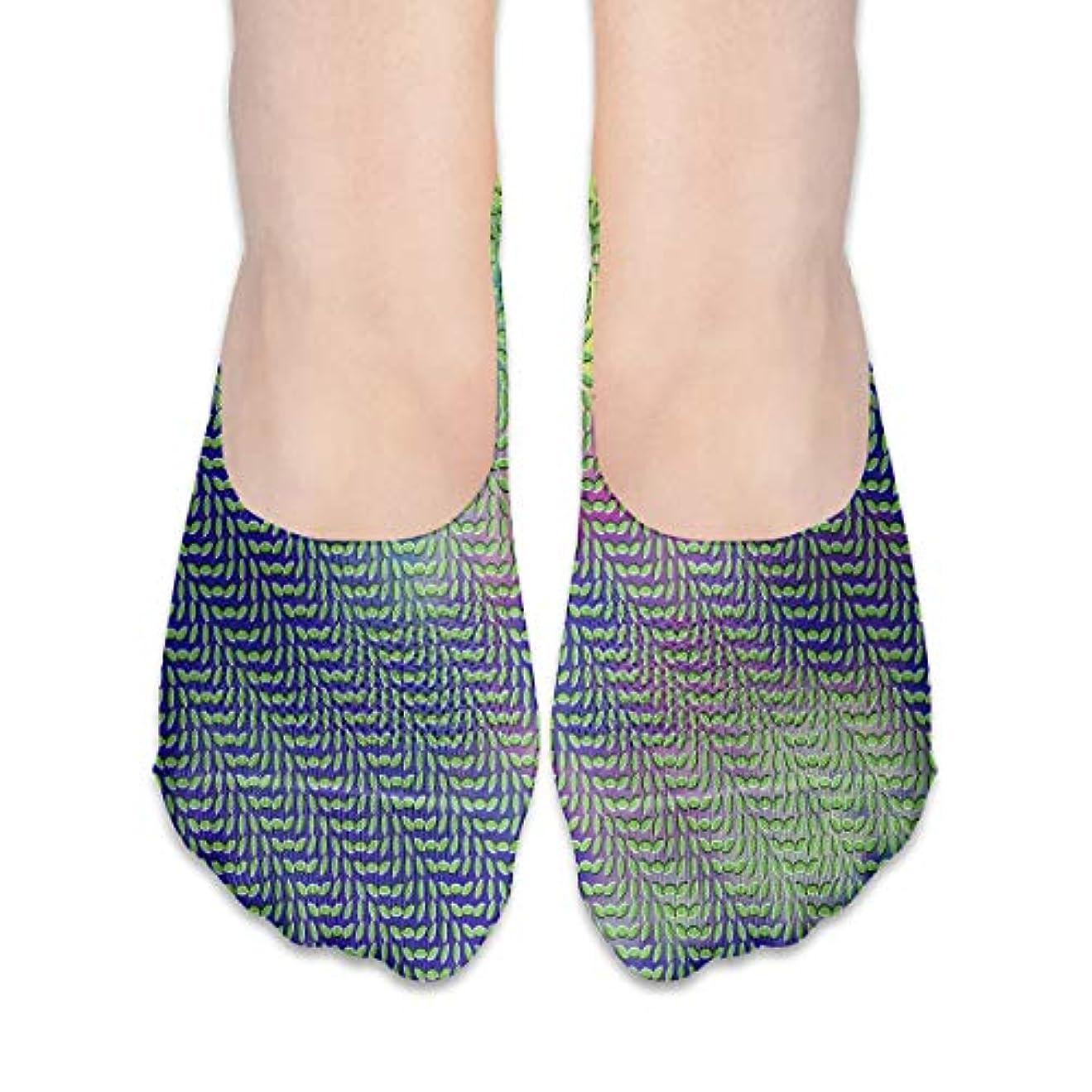 究極のキモい決定女性用グリーントリッピー(2)No Show Socks、ローファーソックスボートシューズソックス