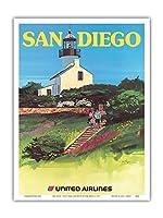 サンディエゴ、カリフォルニア州 - ビンテージな航空会社のポスター によって作成された トム・ホイン c.1973 - アートポスター - 23cm x 31cm