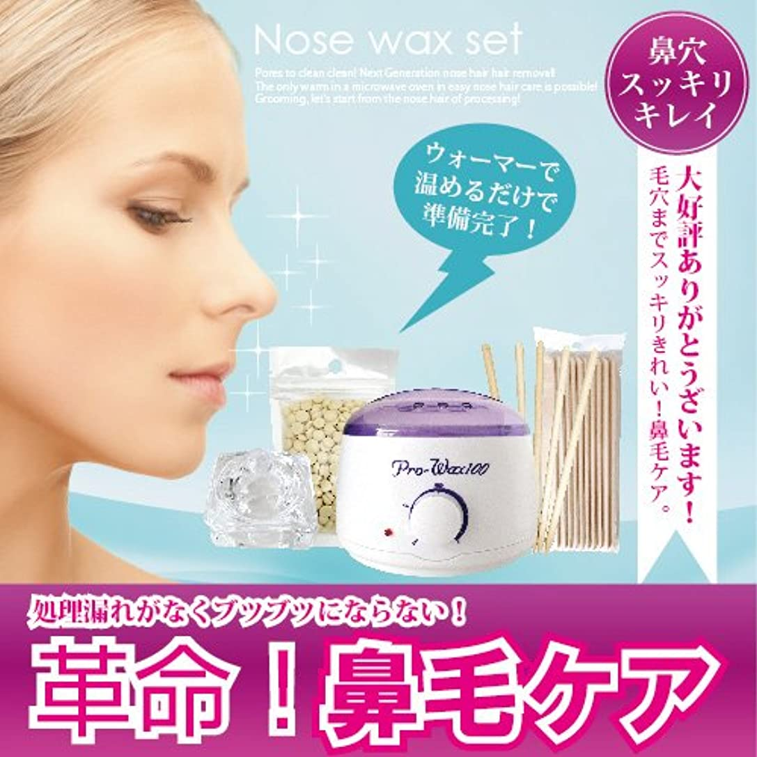 パウダー実行する冷凍庫ブラジリアンワックス Nose wax setウォーマー付ノーズワックス鼻毛ケアセット(約12回分)