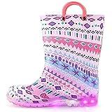 [KushyShoo] レインブーツ 光る靴 長靴 女の子 ガールズ キッズ 光る 収納袋付き 軽量 雨靴 子ども用 滑り止め 梅雨対策 通園・通学用