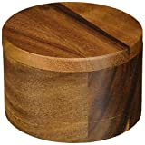 Lipper International Acacia Divided w Swivel Cover Salt Box, Multi Color