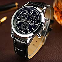 Luxury Fashion Men Stainless Steel Leather Band Quartz Analog Wrist Watch Casual Leather Watches Unique Jewelry Watche