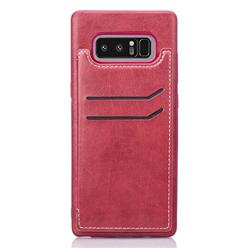 Samsung Galaxy Note 8 2017 Case, Samsung Galaxy Note 8 2017 Cover Thin Flip Cover Case シェル 携帯電話ケース Phone Case for Samsung Galaxy Note 8 2017 by Moonmini (Red)