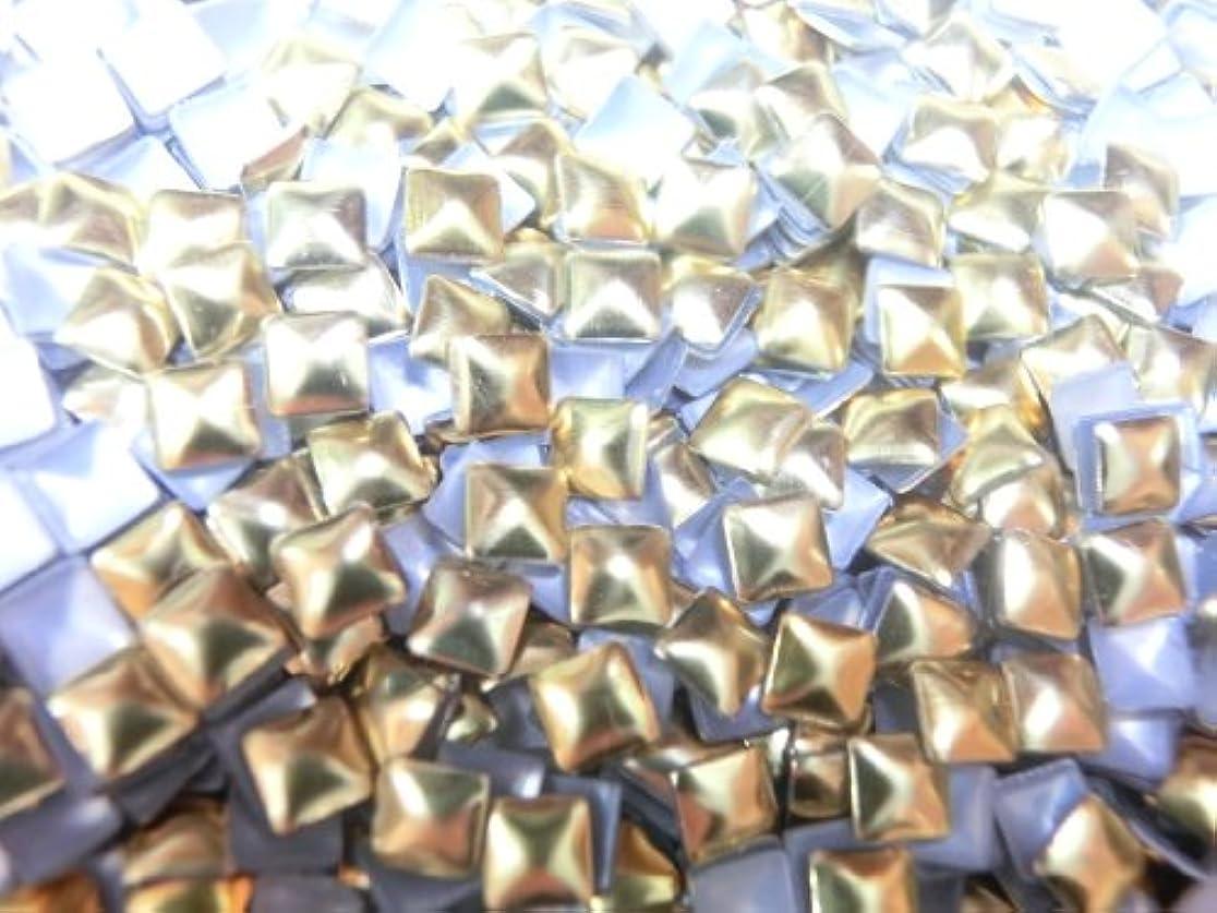 保持するコロニアル傾向【ラインストーン77】 多種類 スタッズ 各色.各サイズ.選択可能 (四角(スクエア) 3mm, ゴールド)
