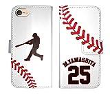 iPhone7 手帳型 野球 ボール 背番号 名入れ ケース カバー