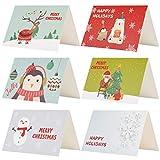Kesote クリスマスカード 24枚 クリスマス飾り メッセージカード 封筒付き 封筒テープ付き 雪だるま 雪 サンタクロース クリスマスツリー トナカイ ペンギン