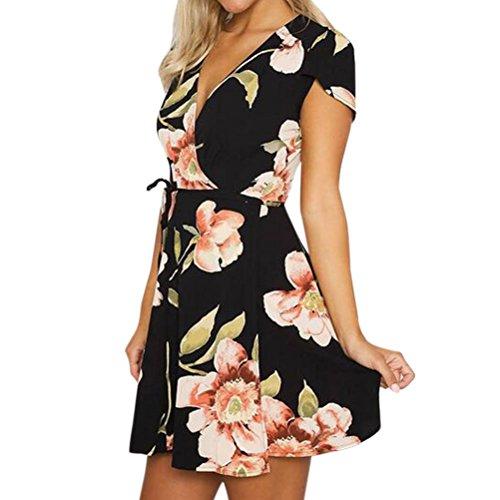 WLLW Women's Short Sleeve Wrap V Neck Tie Front Floral Print Bohemian Mini Dress Large Black