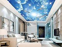 Wapel ブルースカイシーガル天井 3 d 天井カスタム 3 d 壁画天井テレビ背景カスタム天井の壁画の wallpapr 3 次元立体視 絹の布 350x250CM
