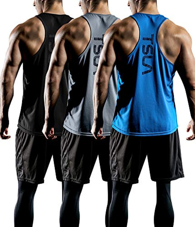 (テスラ)TESLA メッシュ ハイパードライ レーサーバック タンクトップ シングレットシャツ 3枚セット [UVカット?吸汗速乾?超軽量] メンズ MTN33