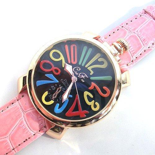 ピンク&ブラック(D) トップリューズ式ビッグフェイス腕時計 マルチカラー文字盤47mm GaGa MILANO ガガミラノ好きに(全7色)