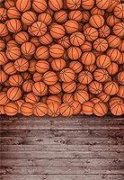 GooEoo 3×5FTビニール細い背景写真の背景Cildren子供スポーツテーマバスケットボール壁の質感ヴィンテージウッドフロアシーン肖像画1(W)x 1.5(H)m背景Photo Studio Props